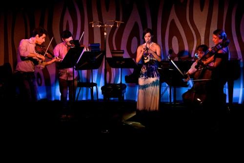 Dover Quartet with Jean Lorenz, trumpeter at Doug Fir. Photo: Jonathan Lange