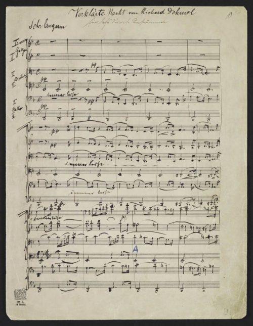 First page of Verklärte Nacht manuscript. Click to enlarge.