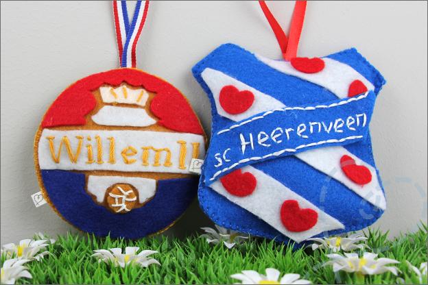 Knutselen DIY Voetbalclublogo vilt WIllem II SC Heerenveen