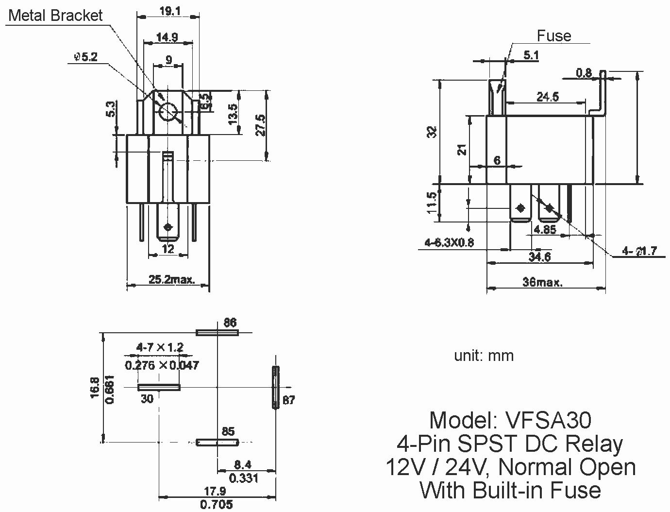 12V / 24V Automotive DC Relay with 30A fuse, model VFSA30