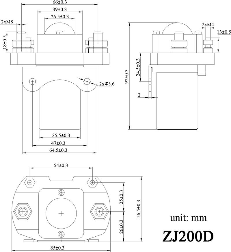 SPST ZJ200D, 200A Normal Open DC Contactor / Solenoid