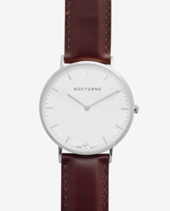 Silver White – Brown Leather (With A Complimentary Pair of Watch Straps)