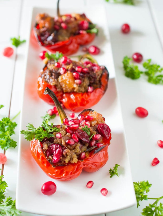 Butternut Cranberry Quinoa Stuffed Peppers