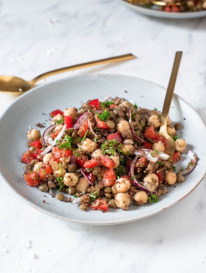 Super Healthy and Quick 5-Minute Lentil Chickpea Salad