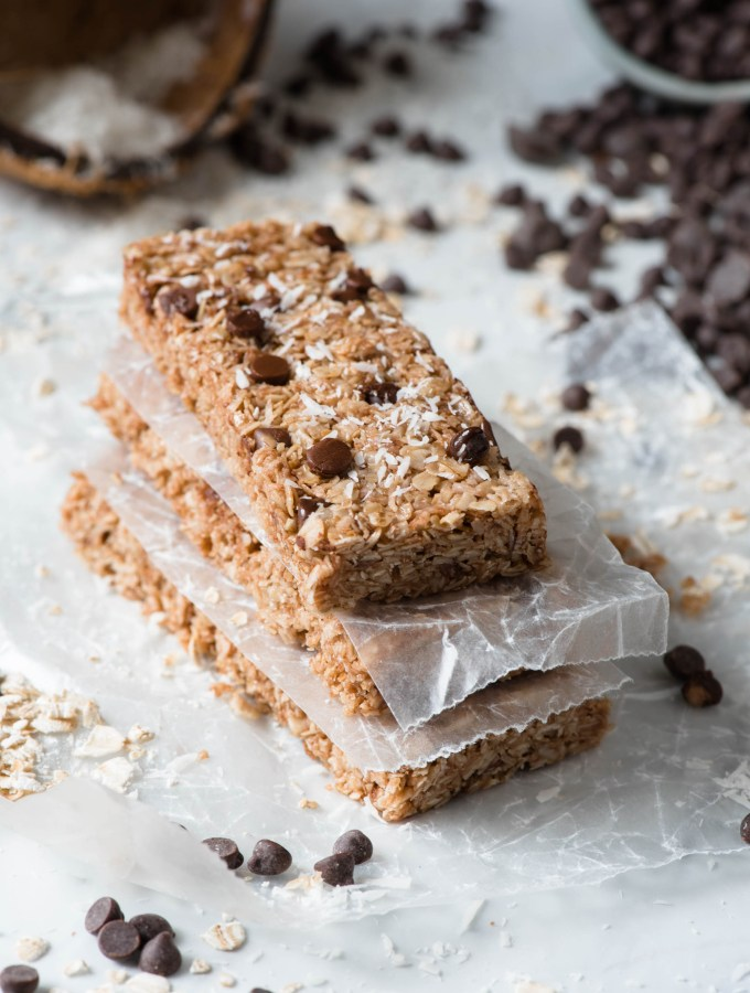 Chewy Chocolate Chip Coconut Granola Bars