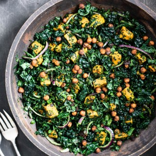 top down view of sweet potato kale salad with roasted chickpeas