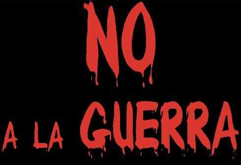 No a la Guerra: logotipo sangre sobre petroleo