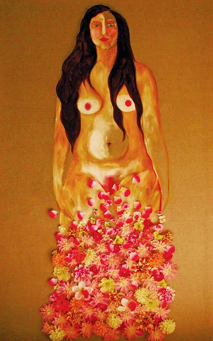Noel Gazzano (2014) La Primavera (Spring). Mixed media on canvas, 190x120 cm