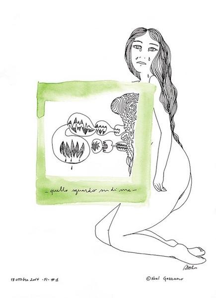 Noel Gazzano (2014) Quello Sguardo su di Me (2014). China su carta, 35x25 cm
