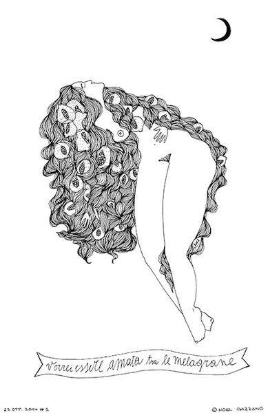 Noel Gazzano (2014) Vorrei Essere Amata tra le Melagrane (2014). China su carta, 30x20 cm