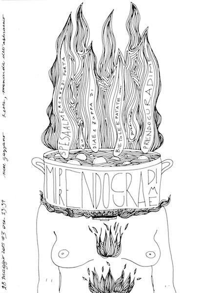 Noel Gazzano (2015) MiPrendoCuraDiMe (ITakeCareOfMyself). Ink on paper.