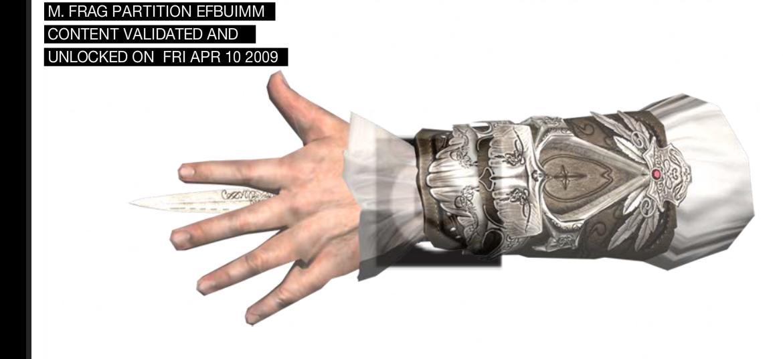 La mano de Altair con el cuchillo oculto.
