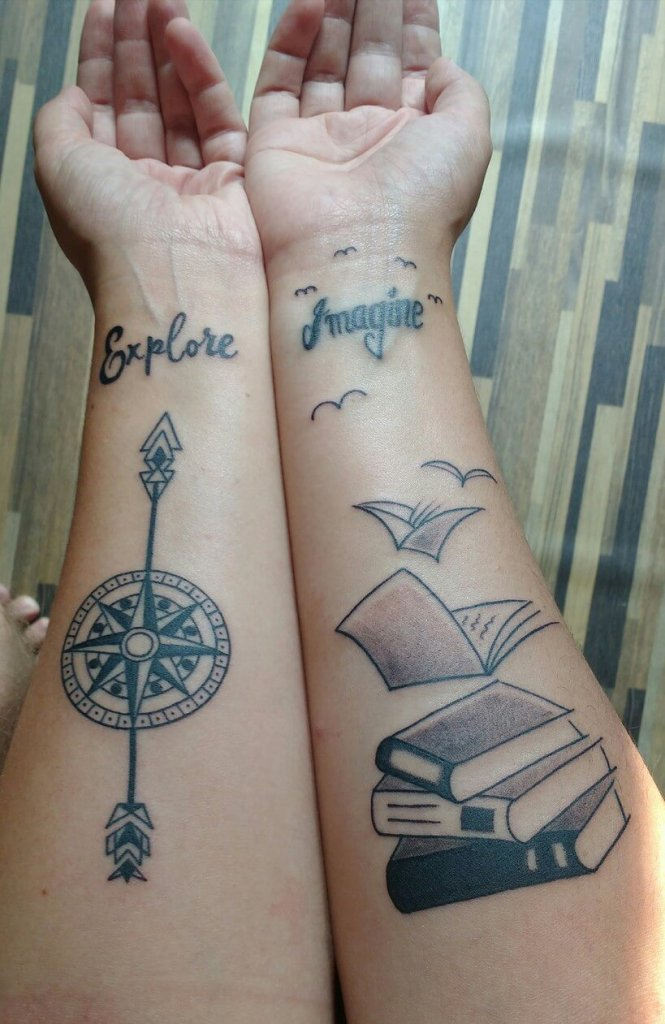 Book and compass tattoo