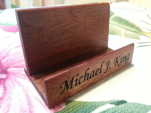 small area text engraving on koa business card stand