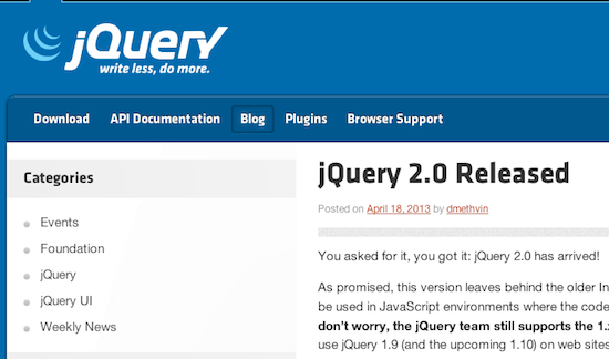 jQuery 2.0 released