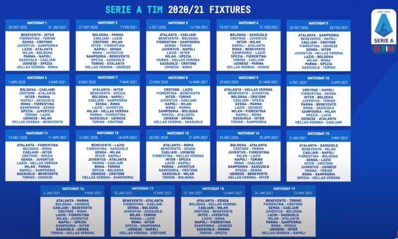 Serie A: il calendario completo della stagione 2020/2021   Noi
