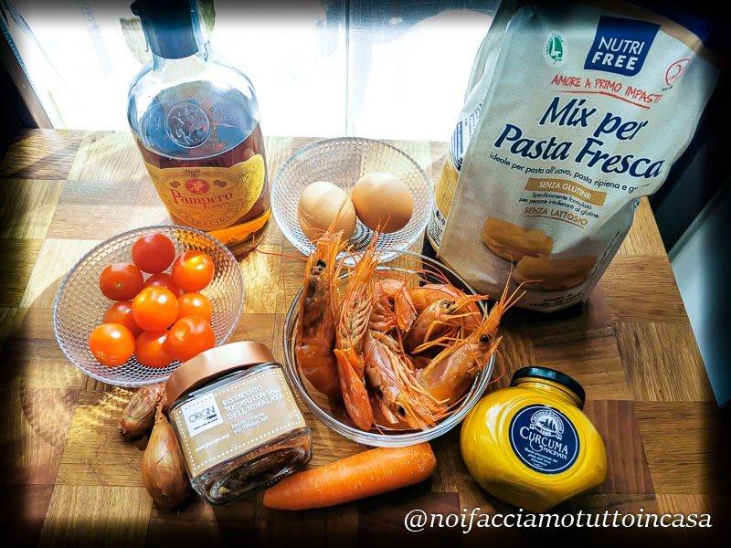 tagliatelle senza glutine gamberoni e pistacchi