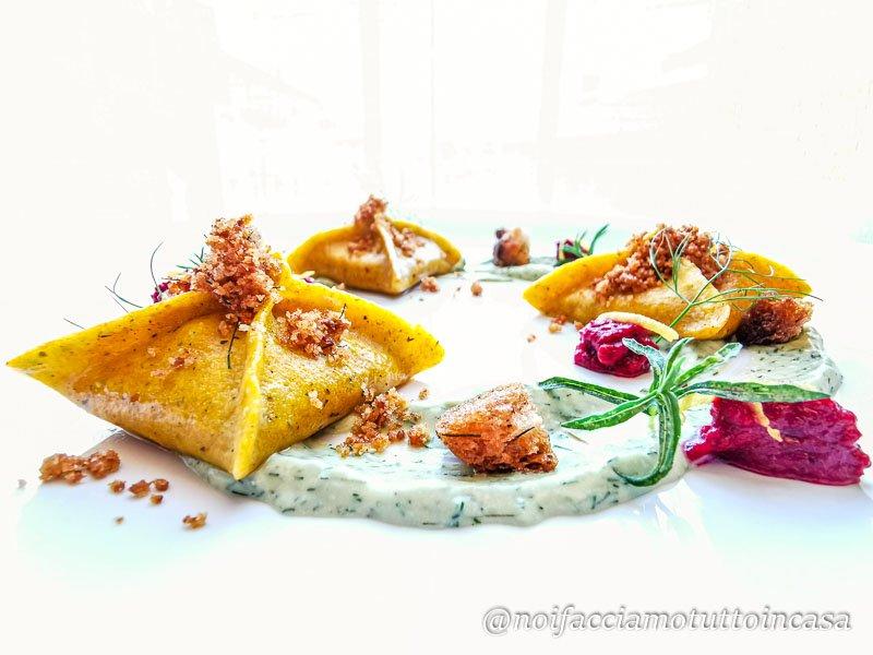 Fagottini al Missoltino con Pesto di Menta e Finocchietto