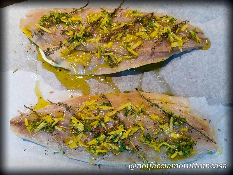 filetti di sgomro al fotno con timo e limone