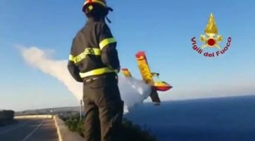 Da oggi l'attività preventiva della Puglia nella nuova sala operativa. Ieri molti incendi tra foggiano, Taranto e Salento. Rogo all'alba a Borgo Celano Regione, inaugurata la Soup