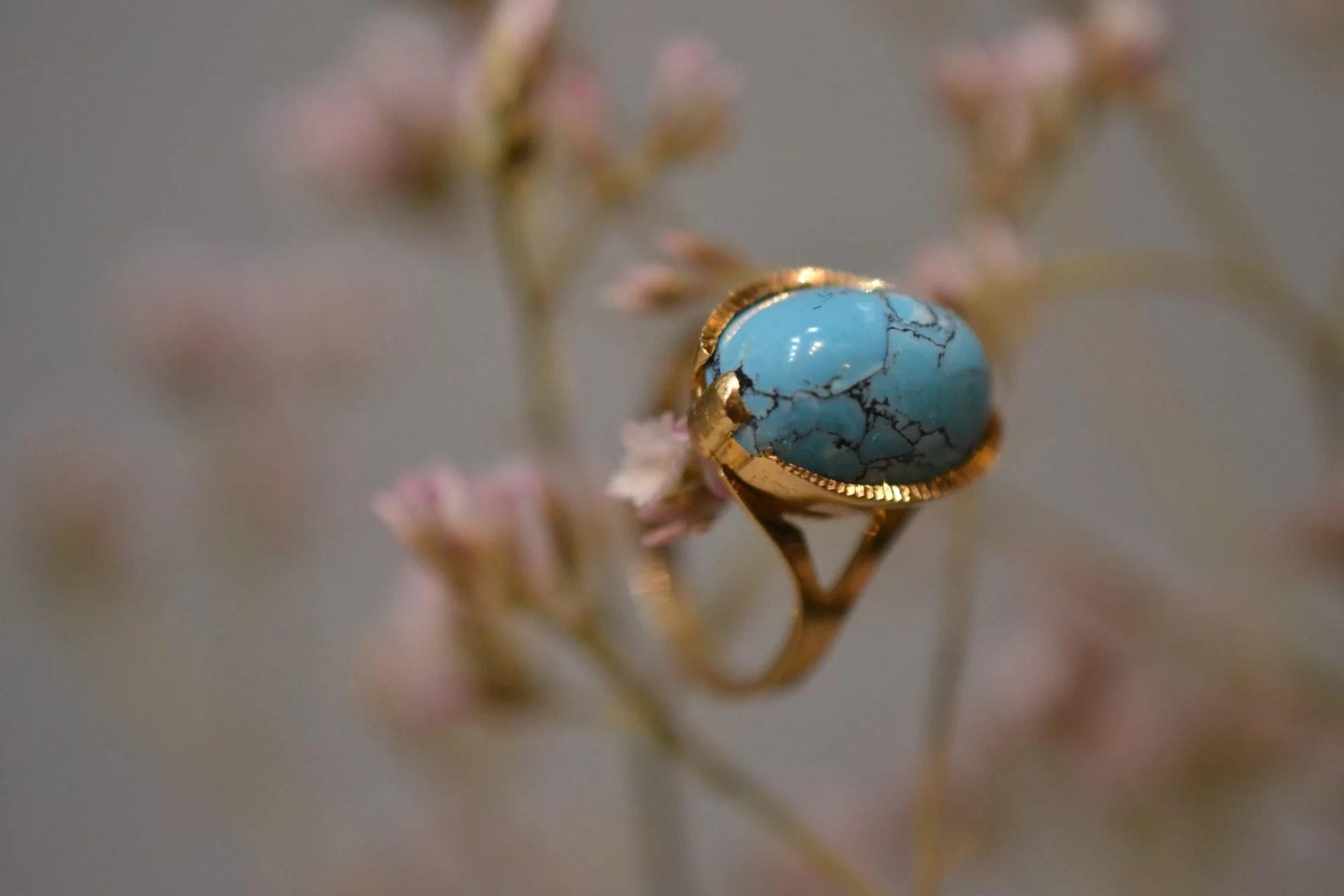 bague ancienne pierre turquoise