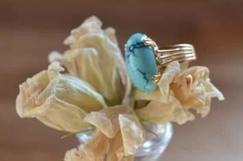 Bague Turquoise Veinée Vintage En Or Jaune 18 Carats