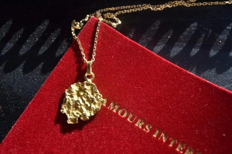 pendentif pépite d'or vintage