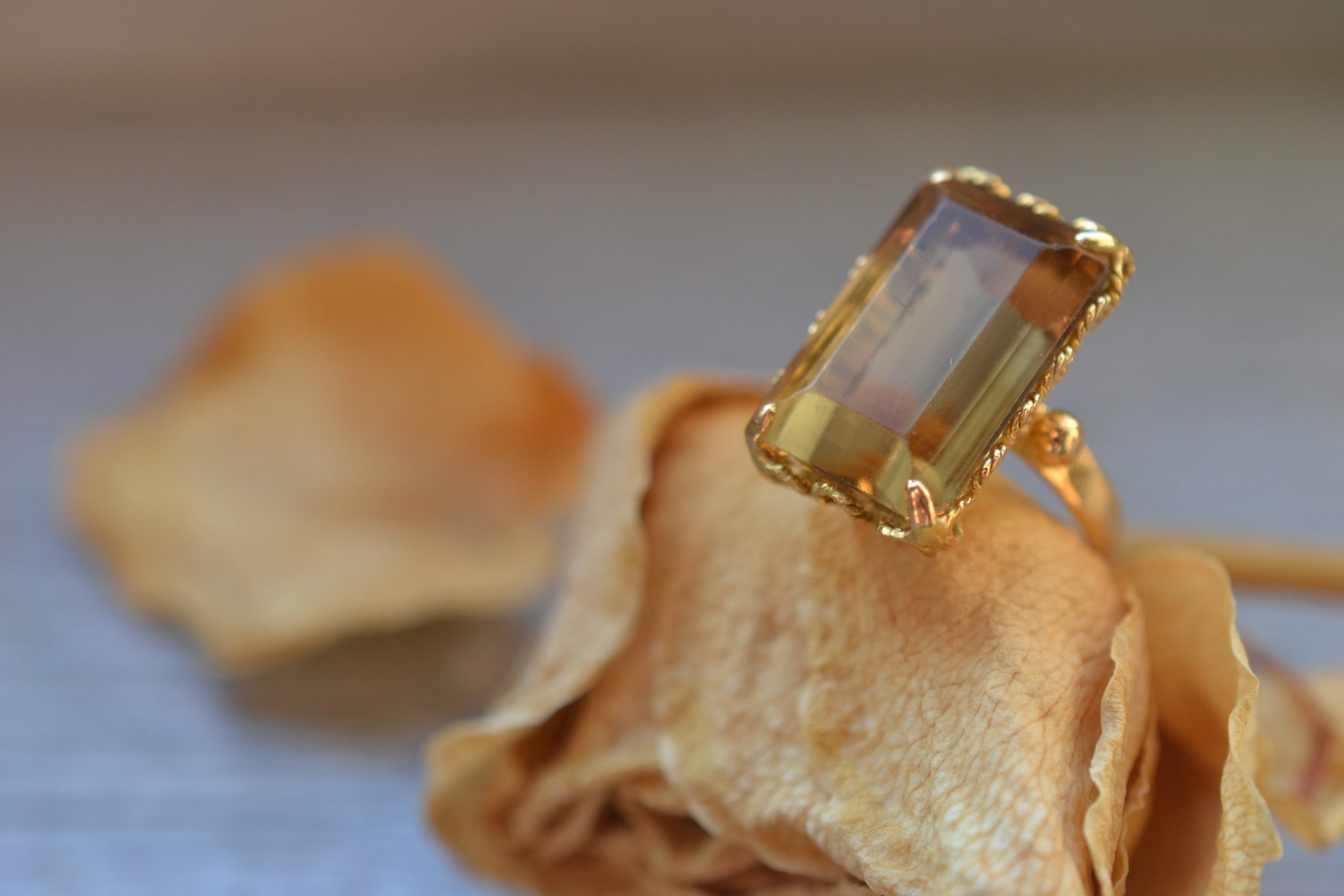 Bague Citrine Or 18 Carats Vintage