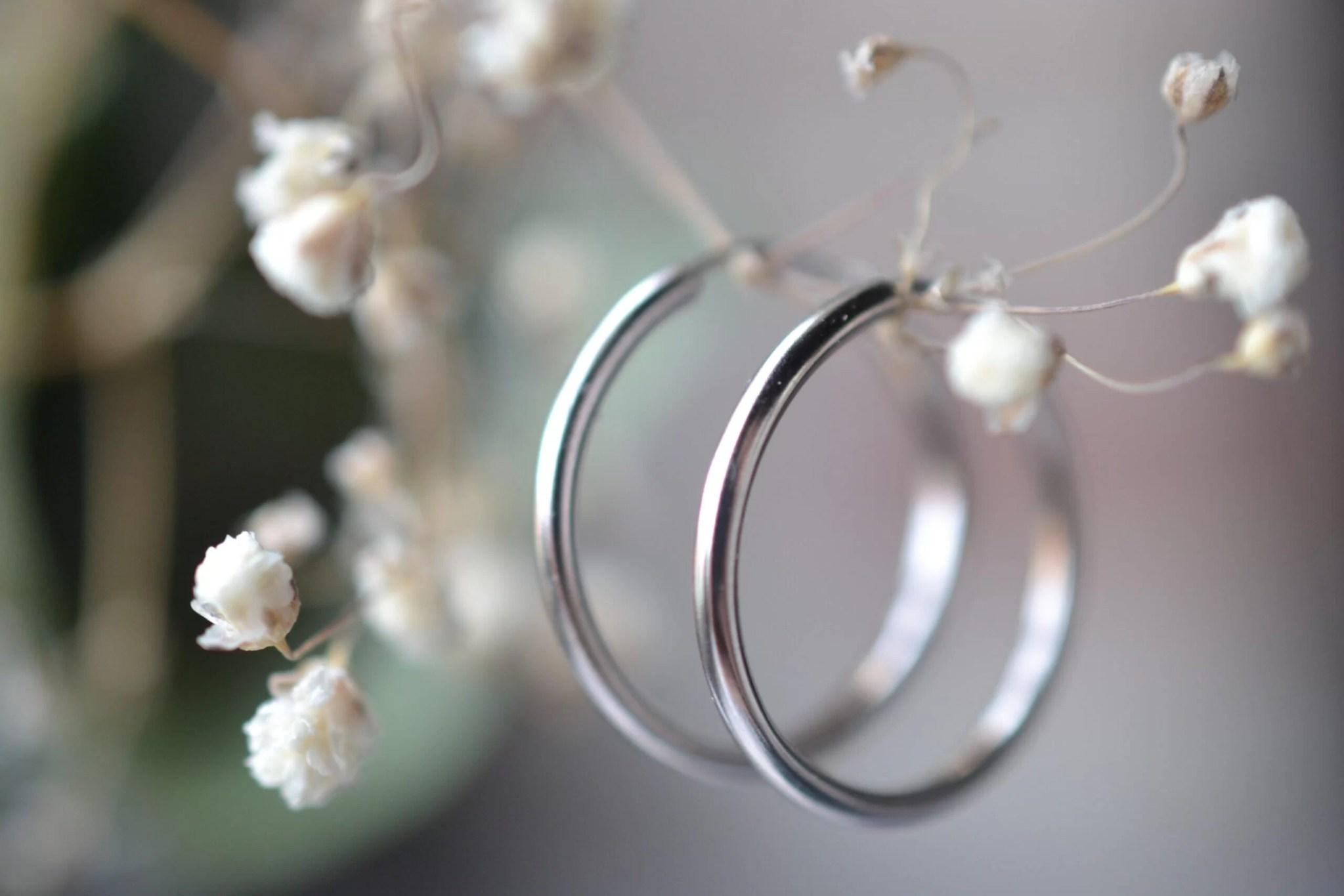 créoles en argent or gris simples - bijoux anciens occasion