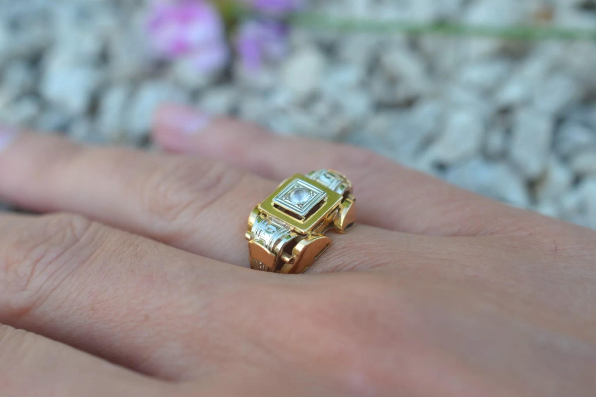 Bague Tank années 1950 - En Or jaune 18 carats - Bijoux anciens durables