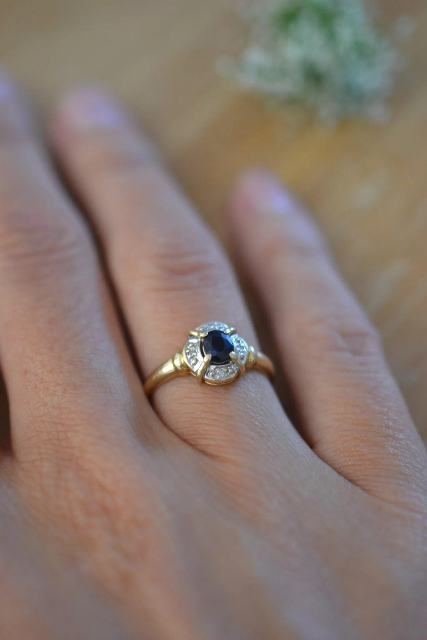 bague saphir et Or jaune et blanc pavage - bijou ancien - 18 carats 750/1000 - bijoux seconde main