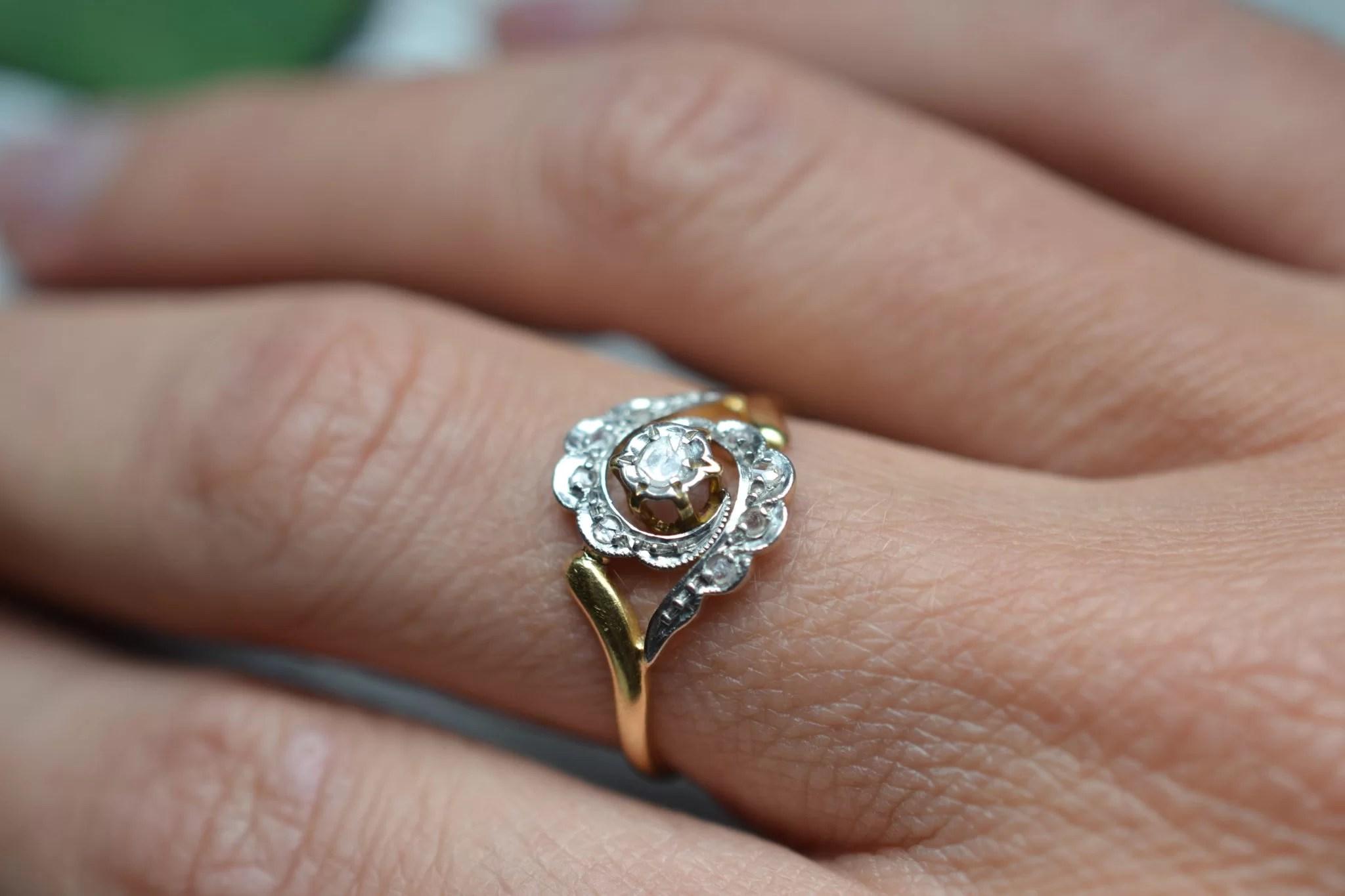 bague vintage fiançailles mariage - tourbillon - or jaune 18 carats - bijoux anciens et vintage - circulaire - noircarat.fr