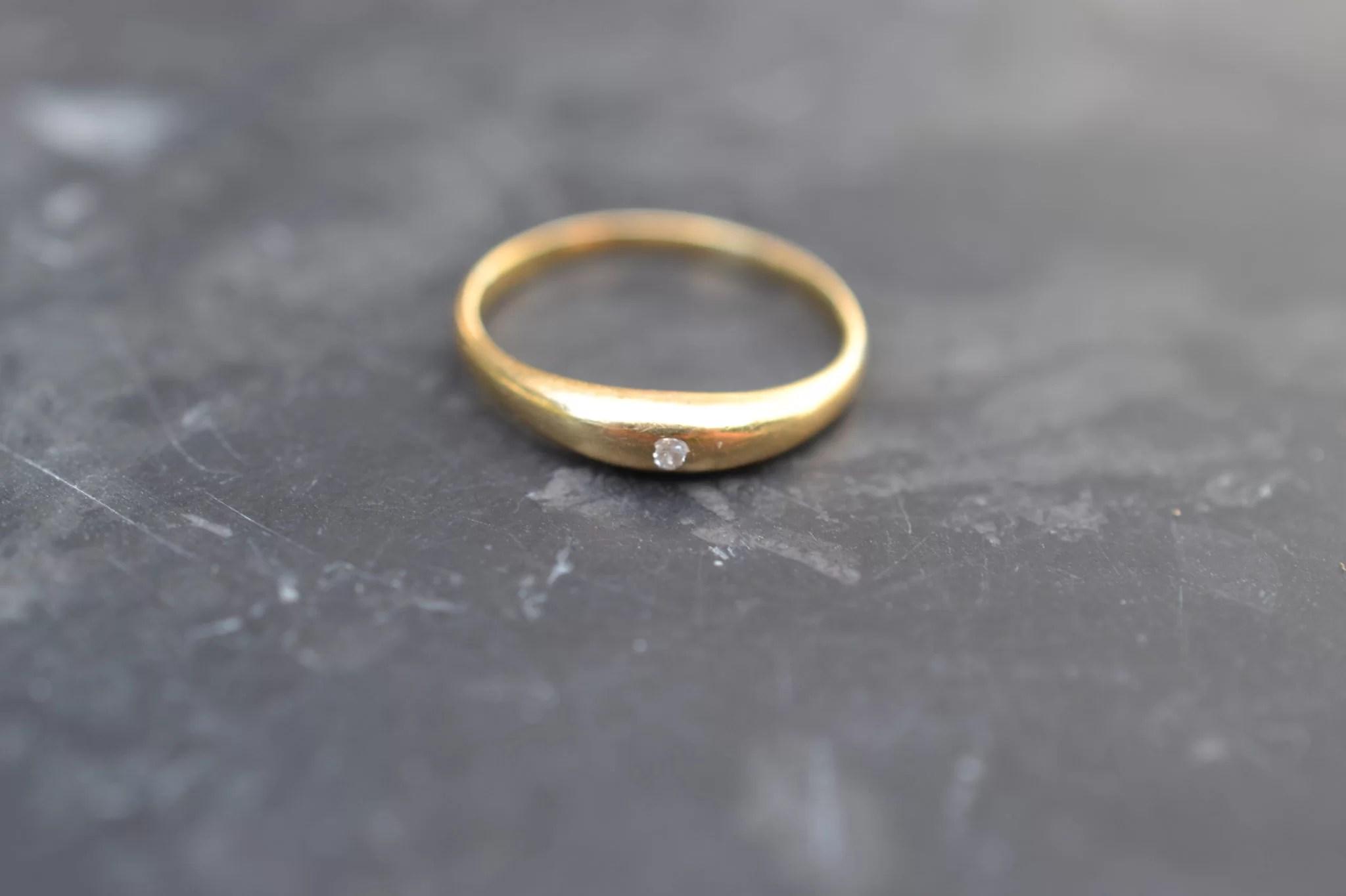 Bague Jonc Anglais Diamant - En Or 18 Carats - Bague Ancienne Diamant - Bijou Unique Occasion