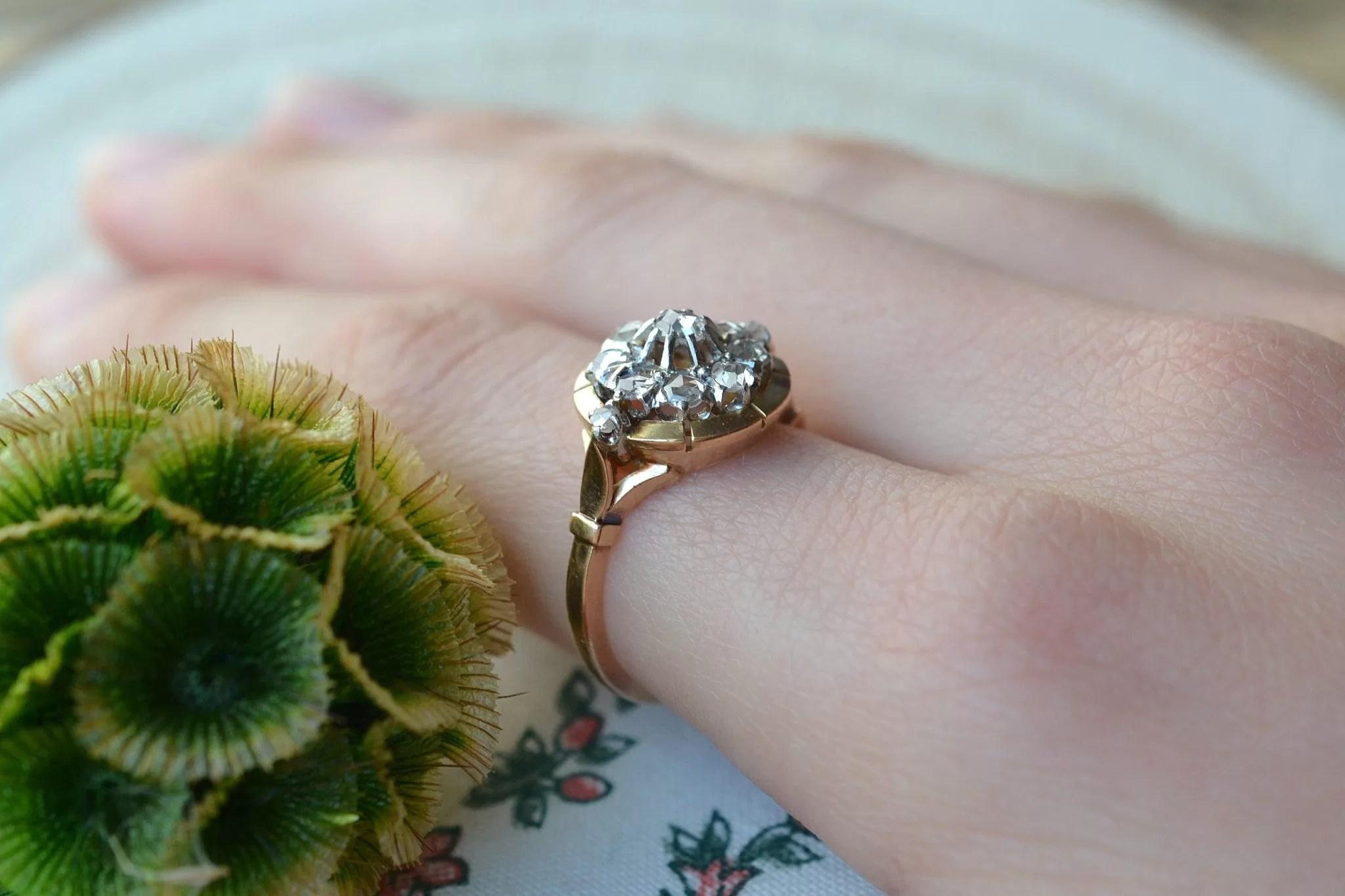 Bague en Or jaune enrichie de diamants - bague d_occasion