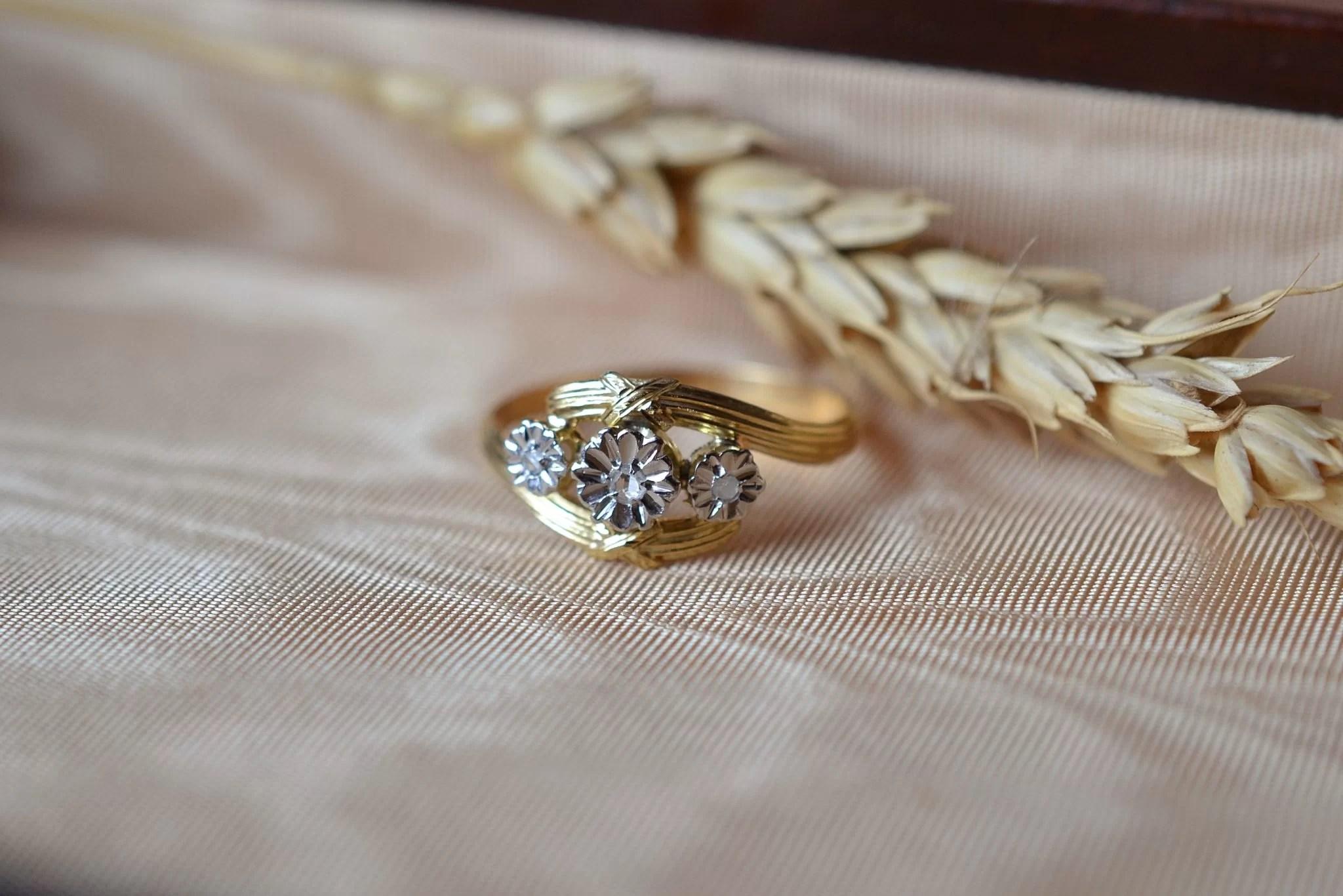 Bague Fleurettes En Or Jaune Et Or Blanc Sertie De Diamants - Bague Éco-responsable