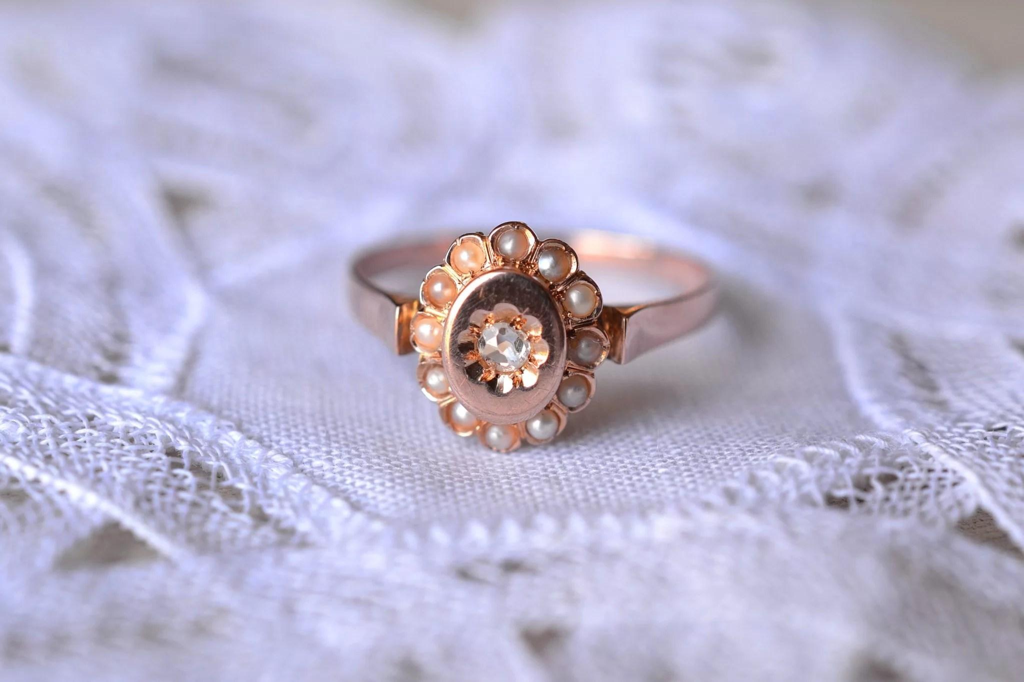 Bague Or Rose Diamant Et Perles