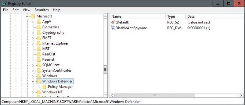Disattivare Windows Defender