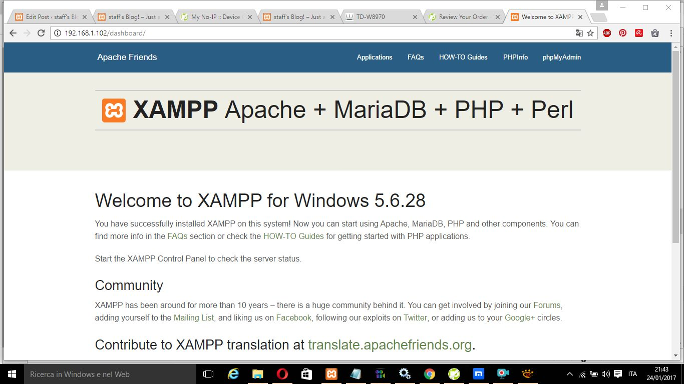 Installare WordPress Apache Mariadb con Xampp