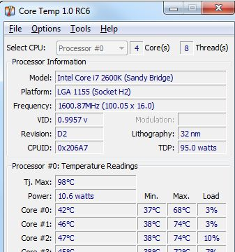 Monitorare Temperatura processore CPU con Core Temp