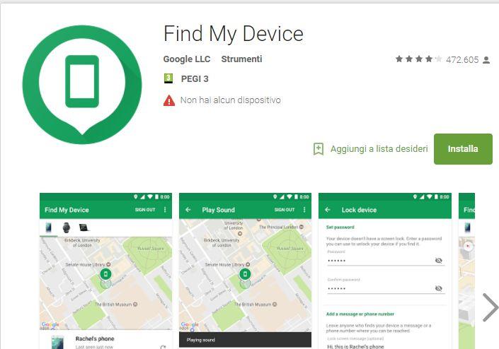 Apps Findme Device per Tracciamento e Geo Localizzazione Cellulare
