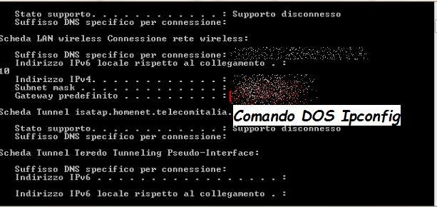 Esempio funzionamento comando  prompt di dos ipconfig