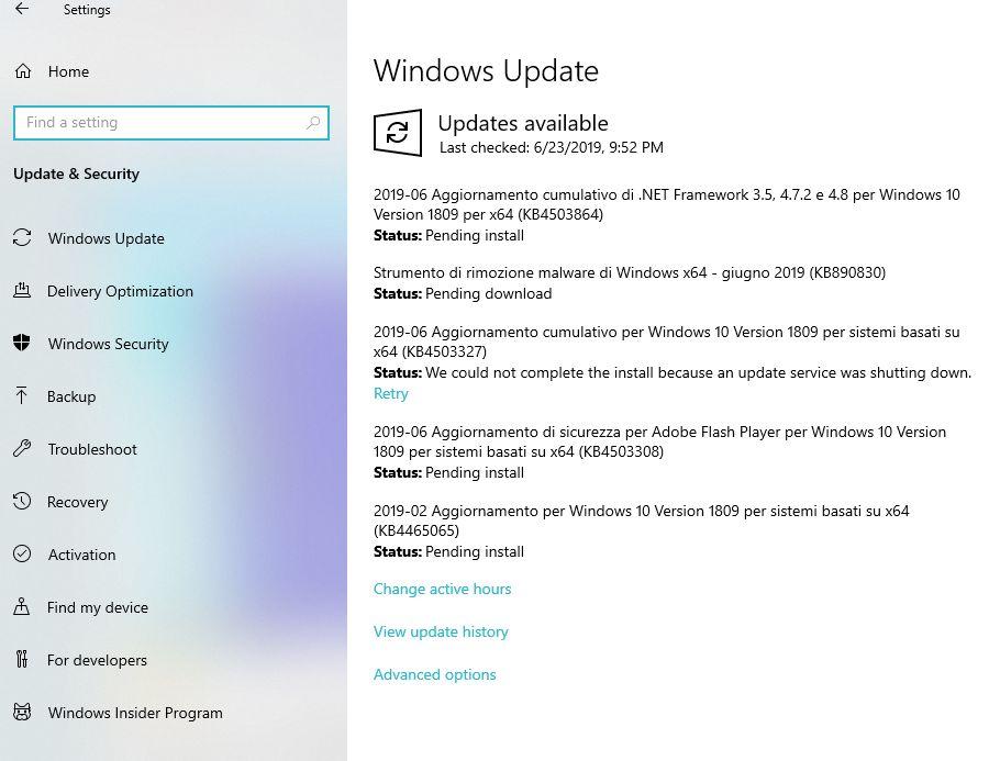 Windows Update per verificare che gli aggiornamenti del vostro Windows 10 siano sempre effettuati