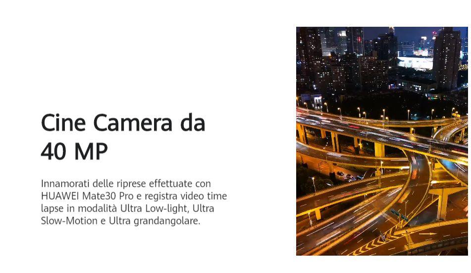 Cellulare Cinese Huawei Mate 30 Pro in modalità SLow Motion con quadrangolare telecamera anteriore