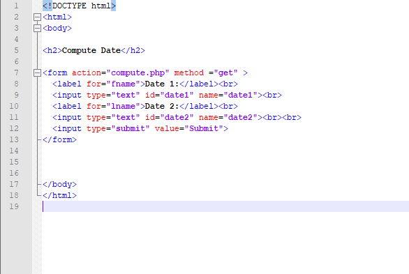 Form html per il passaggio di dati  e calcolare la differenza di html