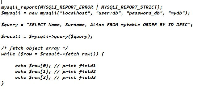 Interrogazione database mysqli_fetch_row