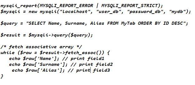 Interrogazione database mysqli_fetch_assoc