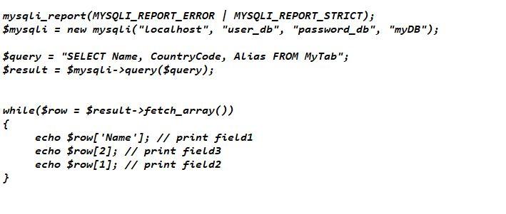 Interrogazione database mysqli_fetch_array