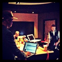 Kanye West in the studio with Justin Bieber from Kenny Hamilton Instagram
