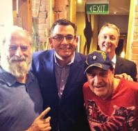 Daniel Andrews and Martin Foley with Michael Gudinski and Molly Meldrum