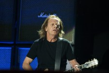 Stevie Young rhythm guitarist for AC/DC performs at Etihad Stadium in Melbourne on Sunday 6 December 2015. They are in Australia on the final leg of their Rock Or Bust World Tour.